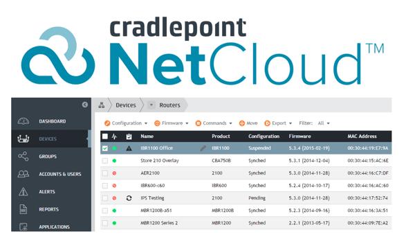 Cradlepoint Netcloud Manager dashboard