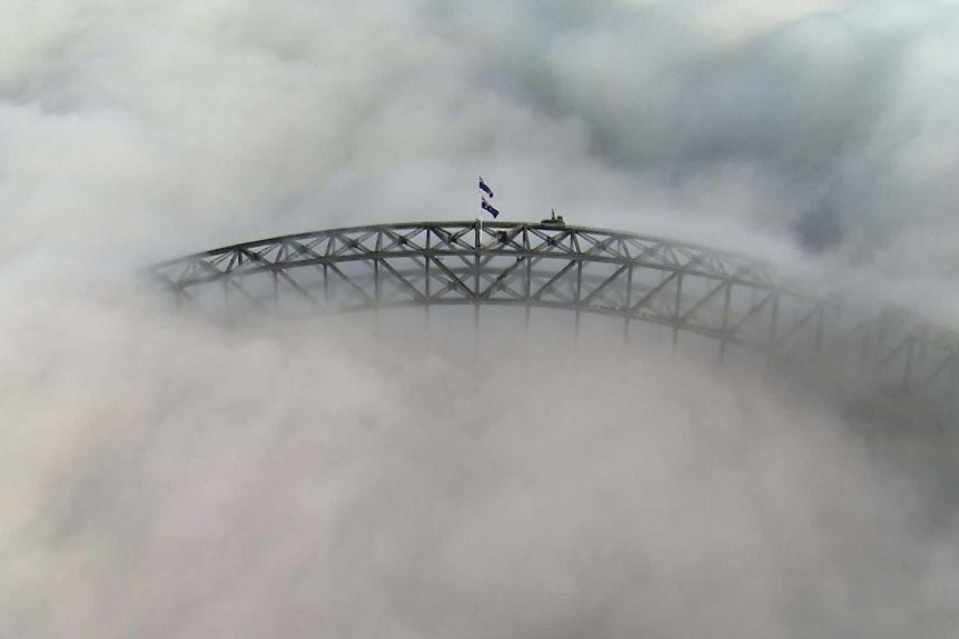 Harbour bridge fog