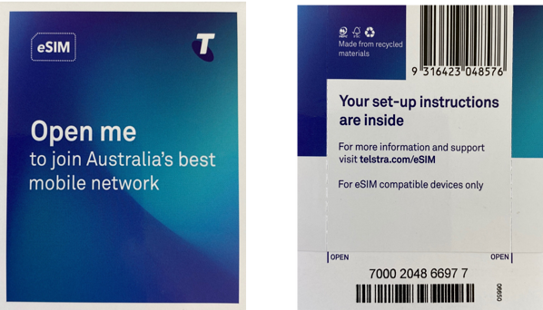 Telstra eSIM front and back